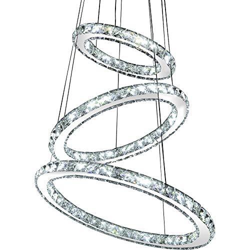 LED Pendelleuchte 3210-2 runde Ringe Luxus Design K9 Kristall chrom 2 Ringe Ø 70cm 50cm 60 W 4500K Energieeffizienzklasse: A+