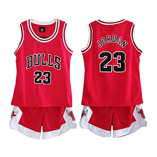 buy popular 73fb5 495d2 Daoseng Kid Boy Mens NBA Michael Jordan #23 Chicago Bulls Basketball shorts  Summer Jerseys Basketball Uniform Top&Short (RED, XL/for kids height ...