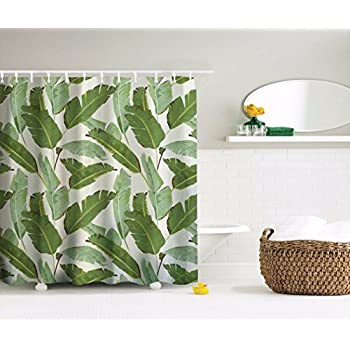 amonamour white backgrounds green banana tree leaves tropical plants picture print fabric polyester waterproof mildew resistant shower curtain 180x180 cm