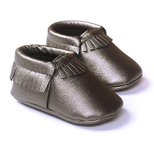 Lemandy , Chaussures premiers pas pour bébé (fille) argent 12 cm dark tan