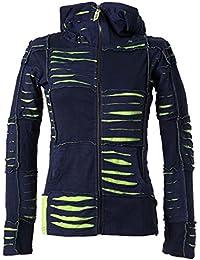 Vishes – Alternative Bekleidung – Damen Patchwork Jacke mit Cutwork und Zipfelkapuze