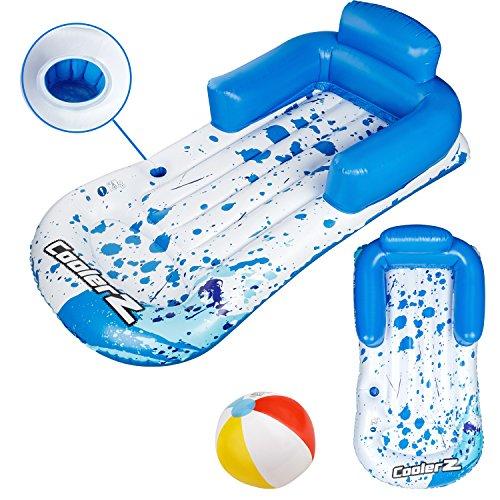 Bestway Luftmatratze mit gratis Wasserball | aufblasbare Wasserliege mit Arm- und Rückenlehne | inkl. Reparaturflicken | 161 x 84 cm | Strand Loungesessel auffälliger Print | Sommer Set mit Strandball (Mit Getränke-halter Pool)