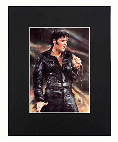 XQArtStudio Elvis Presley Portrait 8x 10Schwarz mattierte Kunstdruck Kunstwerke Gemälde Bedruckt Bild Foto Geschenk Poster Wall Decor Display -