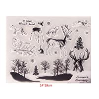 Dabixx Deer Birds Clear Stamps Sheets Transparent Silicone Seal for DIY scrapbooking Craft Card photo album Decorative 14x18cm/5.51x7.09in