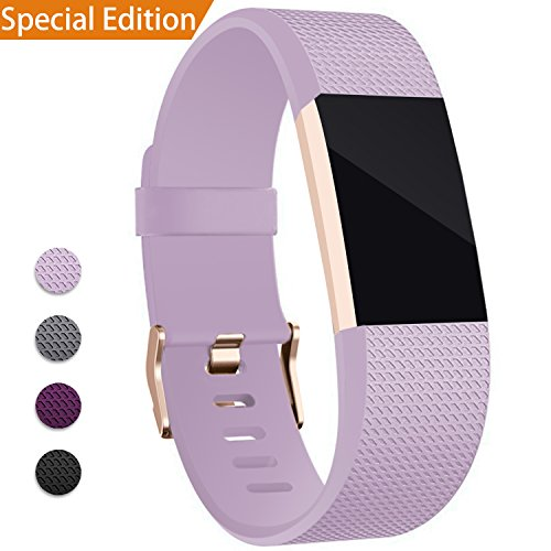 Mornex Kompatibel Fitbit Charge 2 Armband, Original Ersatzarmband der Verschluss in Rose Gold, Sport Fitness Watch Band für Fitbit Charge 2 Armband, Lavendel, Small