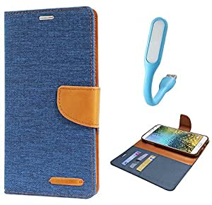 Samsung Galaxy ON 7 Flip Cover with Stylus Flexible USB Light By Online Street