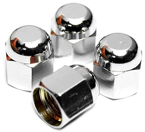 PRESKIN Ventilkappen, 4 x HEXADOME Auto-Ventilkappe aus Messing + Chrom, Ventildeckel, für Reifenventile (Chrom Ventilkappen)
