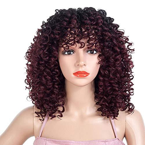 Perücken Für Frauen, Farbverlauf Afrikanische Kleine Lockige Lange Lockige Haare Kopfbedeckung Mode Realistische Perücke Weibliche Rolle Spielen Party Ripple Perücke 18,5 Zoll / 47 Cm ( Farbe : A )