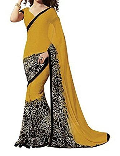 Jashvi Creation Woman's Cotton Silk yellow Saree(SB_Orange_Beauty)