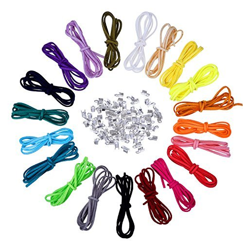 3 mm Lederschnur Faux Wildleder String Threads mit 100 Stück Silver Cord Enden, 20 Meter, 20 Farben -