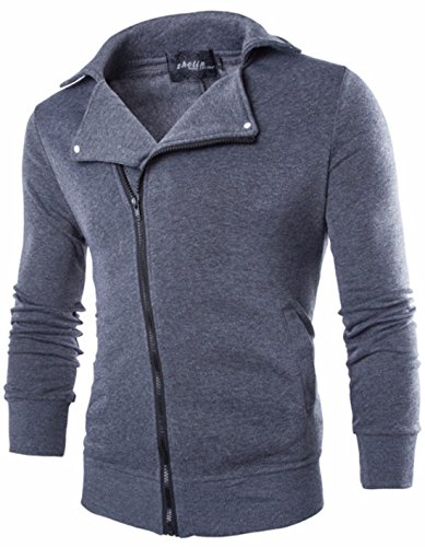 Men's Novelty Oblique Zipper Casual Sweatshirts gray