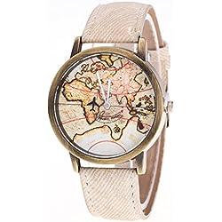 Vovotrade Mujeres Mapa del Mundo vaquero banda de mezclilla reloj de  pulsera de cuarzo analógico (. Amazon.es 33d26c4e0920