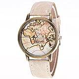 Vovotrade Mujeres Mapa del Mundo vaquero banda de mezclilla reloj de pulsera de cuarzo analógico (Blanco)