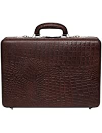 HYATT Leather Accessories Men's Leather Expandable Brown Briefcase