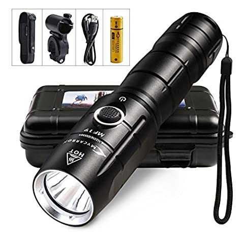 LED Rechargeable Torch Military Torch Professional 800 Lumen Waterproof IPX6