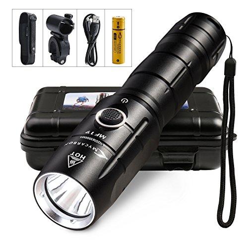 LED Taschenlampe Mini USB Aufladbar 30H Leuchtdauer Dimmbar 800Lumens Leuchtweite 300M Wasserdicht IPX6 Fahrradbeleuchtung Set Superhell Fahrradlampe Outdoor Sport Camping Taktisch Militär Schwarz