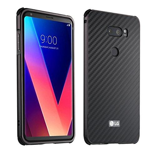 LG V30 Carbon Fiber Look Kohlefaser Optik FederLeicht Hülle Bumper Cover Schutz Tasche Schale Hardcase für LG V30, Schwarz