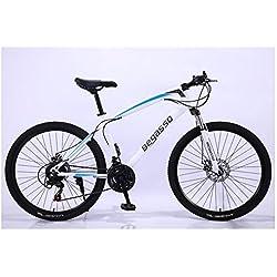"""KXDLR MTB 24 Marchas para Hombre Duro-Cola MTB 26"""" Y Neumáticos De 17 Pulgadas Suspensión Tenedor Capítulo con Bloqueo Mecánico De Bicicletas De Doble Freno De Disco,Blanco,21 Speed"""