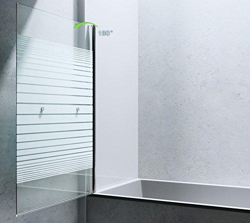 BxH: 94×143 cm Design Duschabtrennung Cortona1122, 6mm ESG-Sicherheitsglas teilsatiniert, inkl. Nanobeschichtung, Badewannenfaltwand, - 3