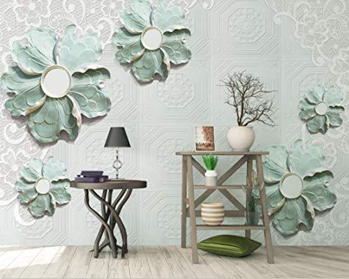 WH-PORP 3D Tapete Nordic Wind Relief Shading Stereo Grün Hohl Tv Hintergrund Wand Wohnzimmer Schlafzimmer Hintergrund Wandbild 3D Tapete-128Cmx100Cm