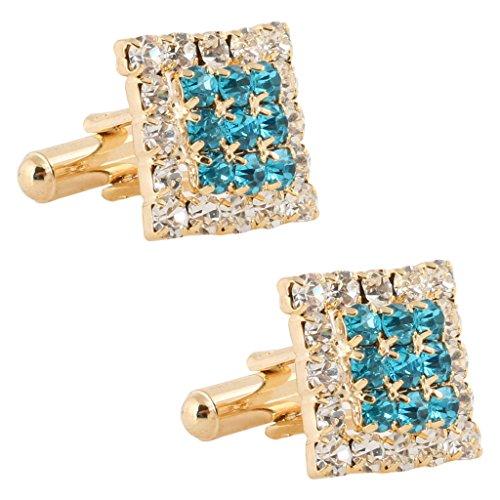 Tripin Square Green Diamond Crystals Golden Brass Cufflinks For Men In A...