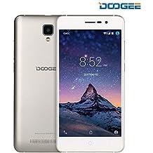 Móviles y Smartphones Libres, DOOGEE X10 Teléfono Móvil Libre y sin Bloqueo de SIM Baratos - 5 Pulgadas con Pantalla HD - Procesador DualCore MT6570 - 8GB ROM - 2.0MP + Cámara de 5.0MPX - Dual SIM 3G, Bateria con 3360mAh, Bluetooth 4.0 - Plata