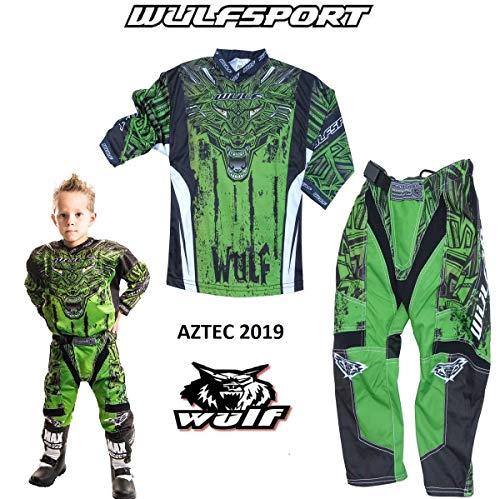 WULFSPORT AZTEC Bambini Tuta Moto Pantaloni e Maglia Bambini Moto MX Scooter ATV Quad Motocross vestito de capretti (5-7 anni, Verde)