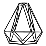MagiDeal Vintage Metall Diamant Form Anhänger Deckenleuchte Lampe Käfig Lampenschirm Dekor - Schwarz