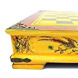 Schachspiel Set Holzbox mit 32 Chinesische Spielfiguren, gelb (ca. 35 x 38 x 8 cm)