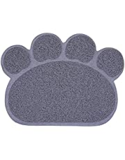 Emily Pets Gray Cute Pet Dog Cat Puppy Feeding Cleaning Table Mats Dish Bowl Mat Food Water Placemat Mat Paw Shape Foldable Plastic Grey Mat (Large)