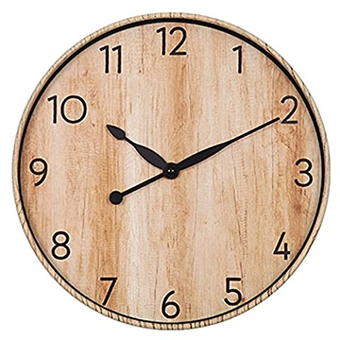 Foxtop 12 Zoll Vintage Holz-Korn Wanduhr ohne Ticken mit Ruhig Sweep Bewegung für Home Office Wanddekoration