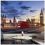 azutura London City Skyline Fototapete Roter Londoner Bus Tapete Wohnzimmer Dekor Erhältlich in 8 Größen Riesig Digital