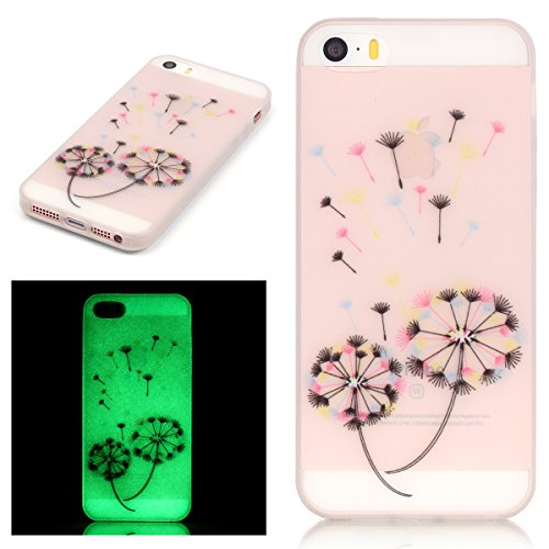 ISAKEN Custodia iPhone SE - Cover iPhone 5S - Fashion Agganciabile Luminosa Cover Denso Case con LED Lampeggiante per Apple iPhone 5 5s SE Ultra Slim Sottile TPU Cover Rigida Gel Silicone Protettivo S dandelion colorate