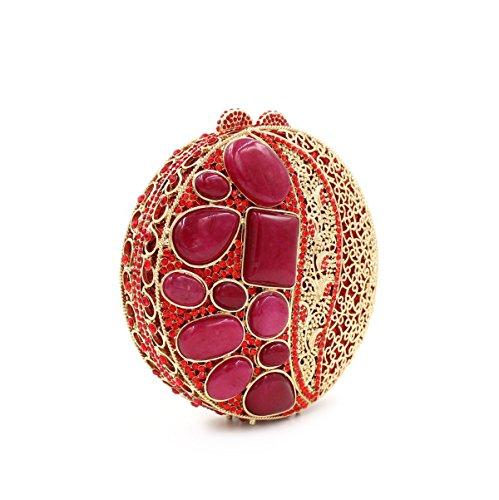 WYB Upscale Damen Rubin-Kristall-Diamant-Abendbeutel / Luxus hohle Diamant-Beutel / Brautbeutel / Kleidbeutel Red
