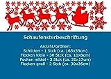 SH25 'Frohe Weihnachten - Schlitten' - Schaufenster Beschriftung Aufkleber Werbung Schaufensterwerbung Schaufensteraufkleber (202x58cm) glanzgold (gespiegelt)