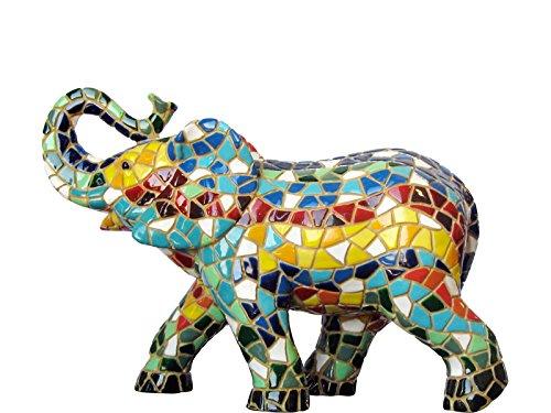 Figurine Elephant Multicolor in Mosaic of the Collection Trencadis Antonio Gaudí 15 x 5 x 10 cm multicoloured