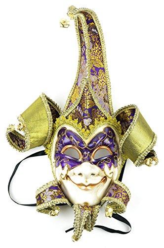 Fancy Full Jester Maske, Violett/Gold, 45,7 cm