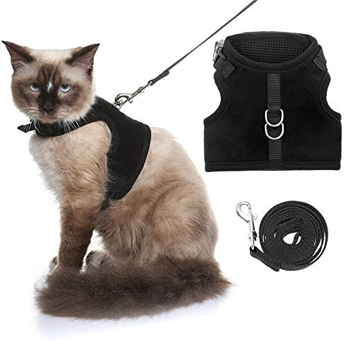 HOMIMP Escape Proof Cat Harness and Leash for Walking, Adjustable Soft Vest Harness for Cats Black Large