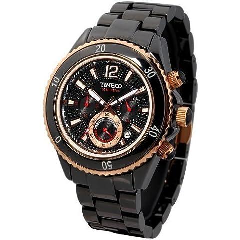 Time W70040G.02A - Orologio da polso da uomo, cinturino in ceramica colore nero