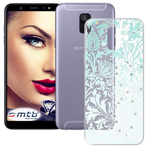 mtb more energy® Schutz-Hülle Blue Diamond für Samsung Galaxy A6 2018 (SM-A600, 5.6'') | mit Glitzersteinen | Silikon TPU Case Cover Tasche -