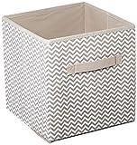 mDesign 4er-Set Aufbewahrungsbox aus Stoff – Ordnung im Kinderzimmer – große Box zur Decken, Kleider oder Spielzeug Aufbewahrung – taupe/natur
