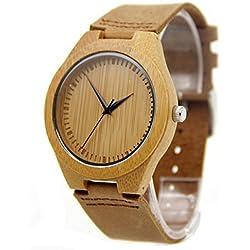100% Handmade Waterproof Gigital Display Wooden Bamboo Genuine Leather Band Business Watch For Men Women Fine Jewelry Brown
