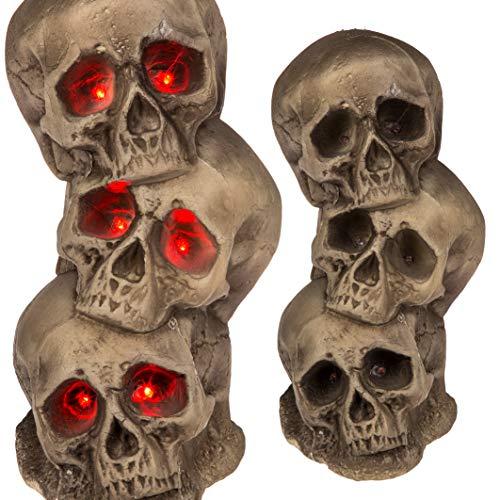 Preis am Stiel Halloween ''Totenkopfturm'' mit Licht | Totenschädel | Leuchtaugen | Geister | Horror | Skrull | Halloween Deko | Party Zubehör | Zombies | Skelett | Halloween Accessoire