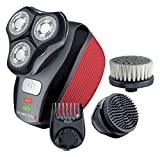 Remington XR1410 Flex360 Rotary Electric Shaver and Groom Kit (Cleansing Brush, Beard Trimmer and Pre-Shave Massage Brush) - Red/Black