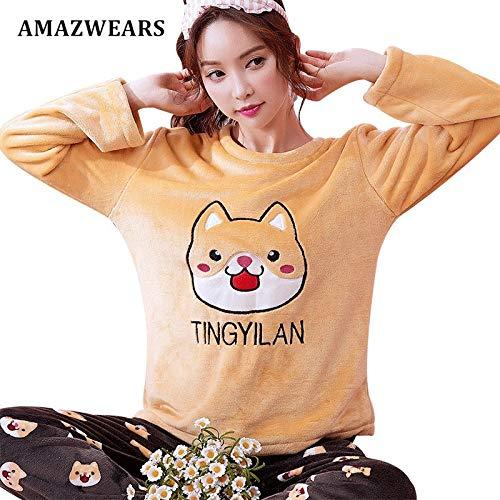 JYLW Damen Schlafanzug Winter Dicke Warme Pyjama Sets Cartoon Pyjamas Frauen Homewear Tier Nachtwäsche Weibliche Pyjama, Gelber Hund, XL