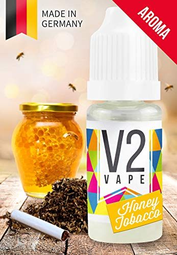 V2 Vape Honey Tobacco Honig-Tabak AROMA / KONZENTRAT hochdosiertes Premium Lebensmittel-Aroma zum selber mischen von E-Liquid / Liquid-Base für E-Zigarette und E-Shisha 10ml 0mg nikotinfrei