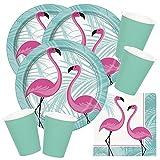 Unique 48-teiliges Party-Set Flamingo - Teller Becher - Mint - Servietten für 16 Personen