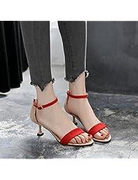 GTVERNH-6cm tacchi a spillo gatto in estate con una multa una fibbia tep sexy colore le scarpe i sandali corrispondenza 36 red