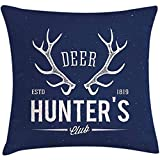Throw Pillow Hunting Decor Cushion Cover, Deer Hunter's Club Logo Design with Antlers Retro Typography Shabby Icon, Decorative Square Accent Pillow Case, 18 X 18 Inches, Navy Blue White