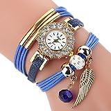 HUIHUI Uhren Damen, Geflochten Armbanduhren Günstige Uhren Wasserdicht Casual Analoge Quarz Uhr Luxus Armband Coole Uhren Lederarmband Mädchen Frau Uhr (Blau)